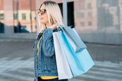 Woman shopping casual leisure bags assortment stock photography