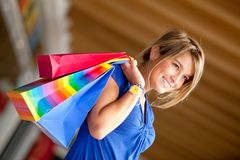 Woman at a shopping center Stock Photography