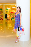 Woman in shopping center Stock Photo