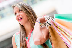 Woman at the shopping center Stock Photography