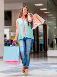 Woman at the shopping center Stock Image