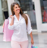 Woman at the shopping center Royalty Free Stock Images