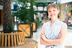 Woman in shopping centre Stock Images