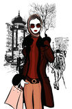 Woman shopping on Champs-elysees in Paris. With Arc de Triomphe in the background - vector illustration Stock Photography