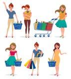 Woman shopping character set. Female shopper vector cartoon characters royalty free illustration