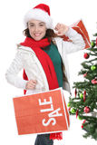 Woman Shopping at Christmas Stock Photography