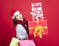 Woman shopping for christmas gifts Stock Photo