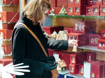 Woman shopping christmas gifts Stock Images