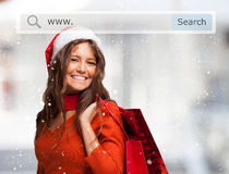 Woman shopping before christmas Stock Image