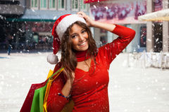 Woman shopping before christmas Royalty Free Stock Photo