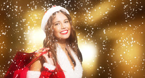 Woman shopping before christmas Royalty Free Stock Photos