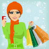 Woman shopping on christmas winter day Stock Photography