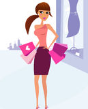 Woman Shopping in the City and boutique display. Woman with shopping bags in town. Vector Illustration in retro style Stock Photos