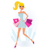 Woman Shopping in the City and Town silhouette. Attractive blond girl with pink shopping bags on Shopping. Vector Illustration Stock Image