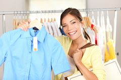 Woman shopping clothes Stock Image