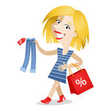 Woman shopping clothes discount Stock Photography
