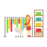 Woman shopping in clothes store, colorful vector illustration. Isolated on a white background Royalty Free Stock Images
