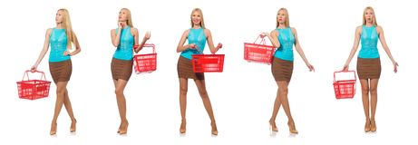 The woman in shopping concept isolated on white. Woman in shopping concept isolated on white Stock Photos