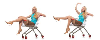 The woman in shopping concept isolated on white. Woman in shopping concept isolated on white Stock Photography
