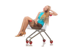 Woman in shopping concept isolated Royalty Free Stock Images