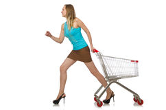 Woman in shopping concept isolated Royalty Free Stock Photography