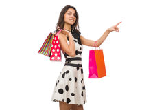 Woman in shopping concept isolated on white Stock Photos