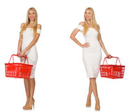 The woman in shopping concept isolated on white Royalty Free Stock Photo