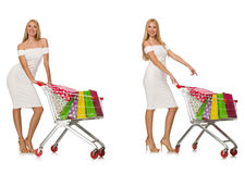 The woman in shopping concept isolated on white Stock Photos