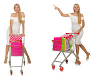 The woman in shopping concept isolated on white Royalty Free Stock Photos