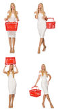 The woman in shopping concept isolated on white Royalty Free Stock Images