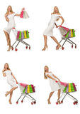 The woman in shopping concept isolated on white Royalty Free Stock Photography