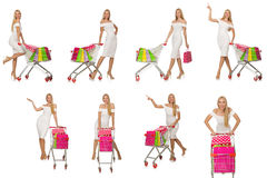 Woman in shopping concept isolated on white Stock Photography