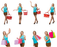 Woman in shopping concept isolated on white Royalty Free Stock Photography