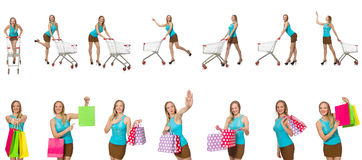The woman in shopping concept Stock Photos