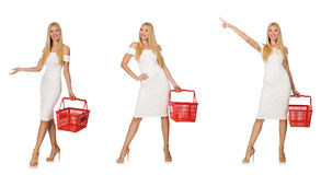 The woman in shopping concept isolated on white Stock Photography