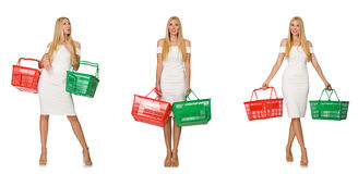 The woman in shopping concept isolated on white Stock Image