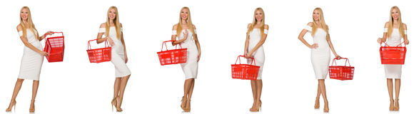 The woman in shopping concept isolated on white Royalty Free Stock Image