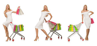 The woman in shopping concept isolated on white Stock Images