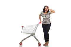 The woman in shopping concept on white Stock Photo