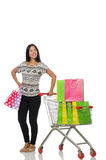 The woman in shopping concept on white Stock Image