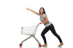 The woman in shopping concept on white Royalty Free Stock Images
