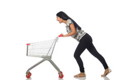 Woman in shopping concept on white Royalty Free Stock Photo