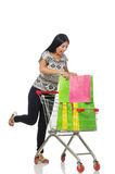Woman in shopping concept on white Royalty Free Stock Images