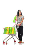The woman in shopping concept on white Stock Photos