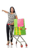 The woman in shopping concept on white Royalty Free Stock Photography