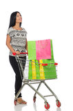 Woman in shopping concept on white Stock Images