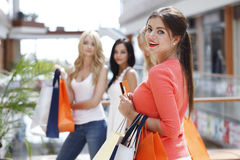 Woman shopping with credit card Stock Images