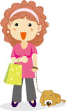 Woman shopping with a dog Royalty Free Stock Photography