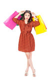 Woman shopping fasion the white backboard. Stock Images