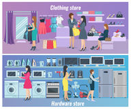 Woman Shopping Flat Banners royalty free illustration